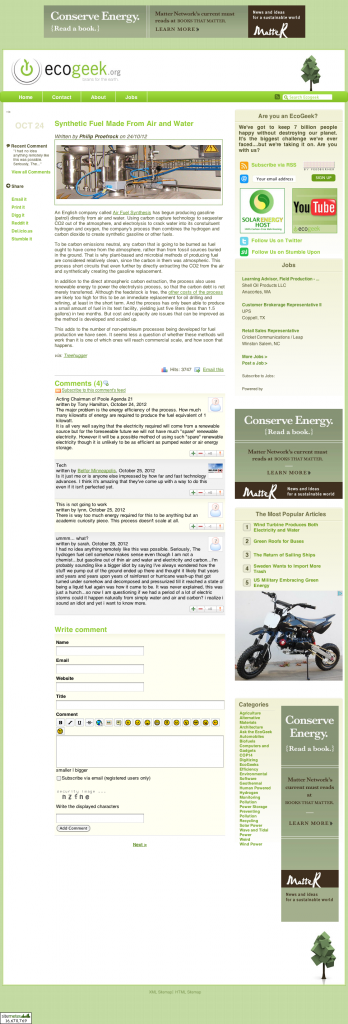 Screenshot of a blog post with four user generated comments (click for a full size version).